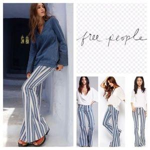 Free people Jolene stripe flare jeans white indigo